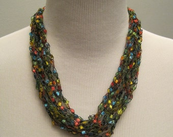 Multi-Colored Crochet Necklace