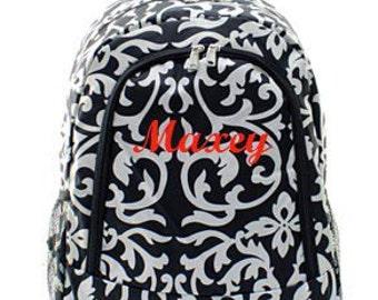 Monogrammed Black Damask Backpack  Personalized Back Pack