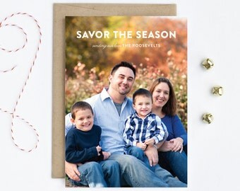 Full Bleed Photo Holiday Card - Savor the Season