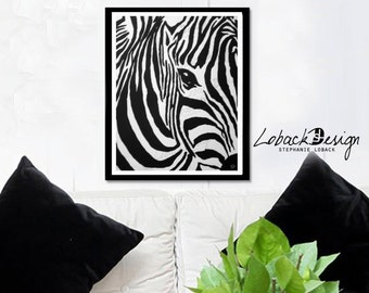 zebra painting 11x14 - Wall Art Printable - canvas painting - Digital Download - Home Decor - black and white