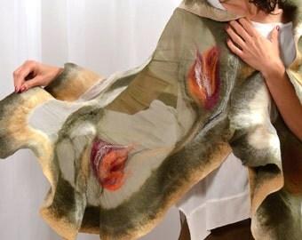 Khaki, beige silk shawl, nuno felted, hand made with flowers, silk dress, silk blouse