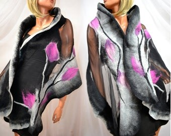 Scarf dresses, wedding, amaranth, gray, black, felted clothing, Silk dress, natural silk, merino wool