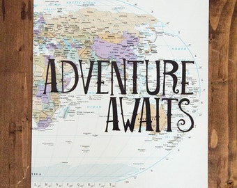 "Asia, Australia and Africa Map Print, Adventure Awaits, Great Travel Gift, 8"" x 10"" Letterpress Print"
