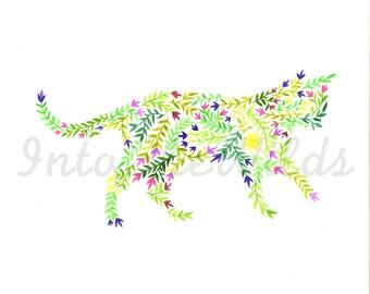Cat Painting, Original Watercolor, Cat Silhouette, kitten silhouette, art print, wall decor, cat lover, feline art, flower pattern, gift