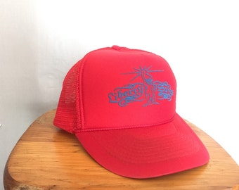 Statue of Liberty Hat Red Vintage Mesh Snapback Trucker Hat Liberty Safes Blue Screenprint Logo