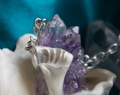 Hydrozoa - Amethyst Cluster Crystal Shell Necklace