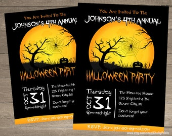 Printable Halloween Invitation - Halloween Party Invitations - Custom Halloween Invitations - Haunted House - Scary Halloween