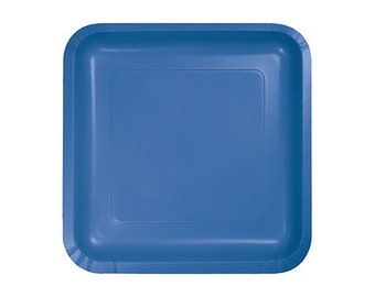 BLUE PAPER PLATES (Set of 14) - Blue Square Paper Plates  (23cm x 23cm / 9 x 9 inch diameter)
