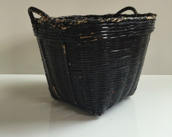 Vintage Woven Bamboo Basket Painted Black
