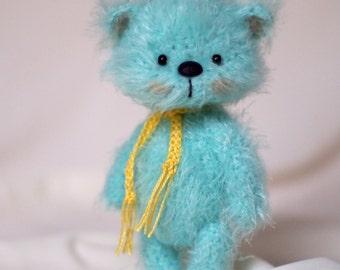4 inches miniature Teddy bear Blythe friend,handmade artist toy,ooak teddy bear, artist teddy bear,miniature animals,crochet teddy bear,toy