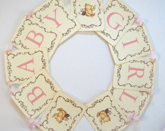 Winnie the Pooh and Piglet, Banner, Baby Girl, Baby Shower