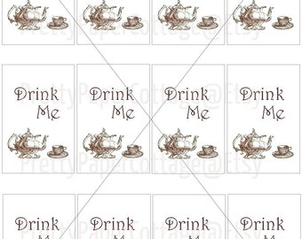 PRINTABLE, Drink Me Tags, Teapot, Teacup, Alice in Wonderland, Instant, Digital Download, Tea Party, Bridal Shower, Baby Shower, Birthday