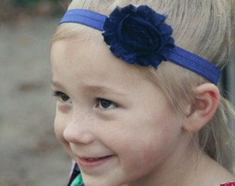Navy Blue Shabby Flower Headband - Navy Blue Flower Head Band - Navy Headband for Girls - Toddler Headband -Navy FOE Headband -Soft Headband