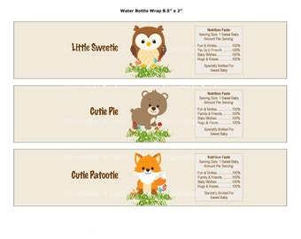Woodland Water Bottle Wrap, Printable Water Bottle Label, Printable Woodland Baby Shower Drink Label, Forest Water - Printables 4 Less 0087