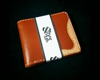 Leather wallet. Tan. Handmade. Men.