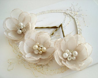 Bobby Pins Bridal Hair Flowers, Flower  Girl Hair Accessory, Rhinestone Wedding  Hair Clips in Champagne Ivory Peach Blush Wedding Flower