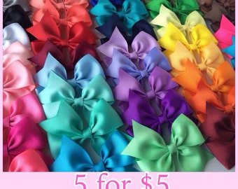 "3.5"" Solid Color Half Pinwheel Bows, Set of 5 Hair Bows, Pick your colors, Dollar Bows"