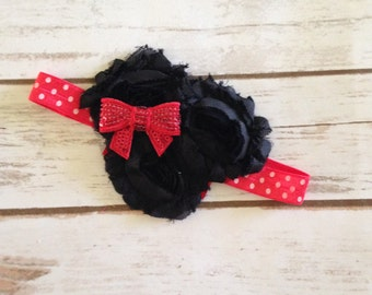 Shabby Flower Mouse Headband, Baby Headband, Toddler Headband, Flower Headband, Shabby Flowers, Minnie Mouse Headband