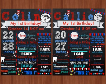 Thing 1 & Thing 2 First Birthday Chalkboard File - TWINS - Twin Birthday Chalkboard - 1st Birthday - Dr. Seuss - Cat in The Hat - Twin Party