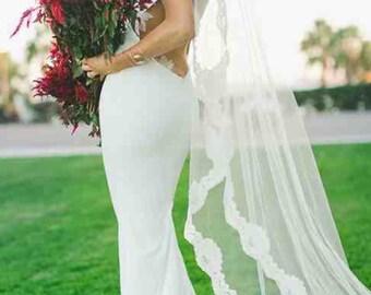 Wedding Veil, Mantilla Veil, Alencon Lace Veil, Bridal Veil, Waltz or Cathedral Length Veil, Ivory Veil, Spanish Veil- SHAYLA'S ROSE Veil
