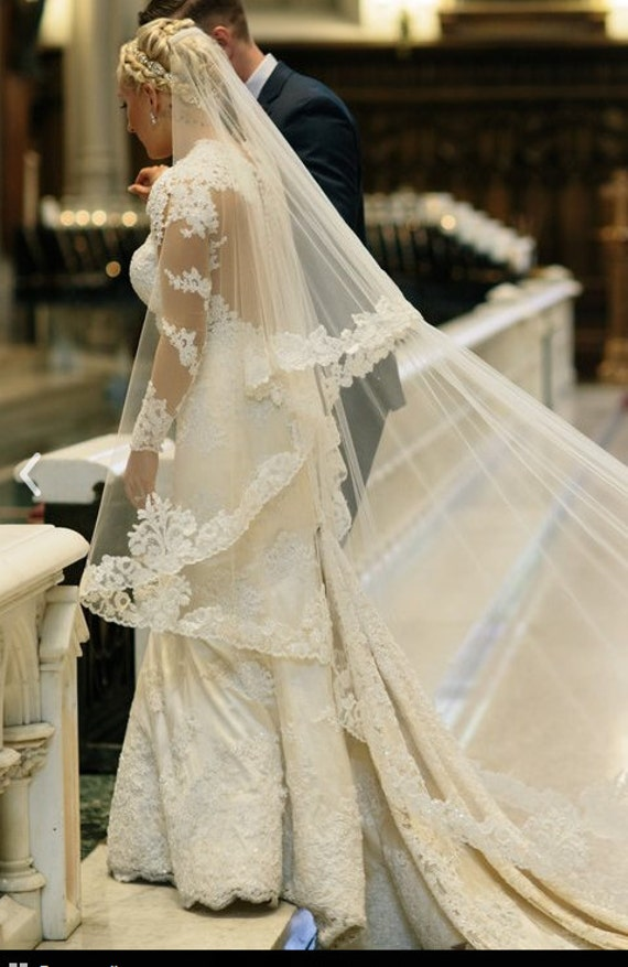 Veil, Beaded Lace Veil, Custom Veil, Lace Veil, Drop Veil, Mantilla,Royal Veil, Wedding Veil, Bridal Veil,  Bespoke veil- THERESA Veil-