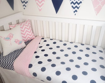 Navy and pink dot nursery set