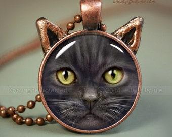 Black CAT NECKLACE // Black Cat pendant // Halloween cat pendant // Long haired black cat jewelry // Cat Pendant // Cat Lovers // SFcop