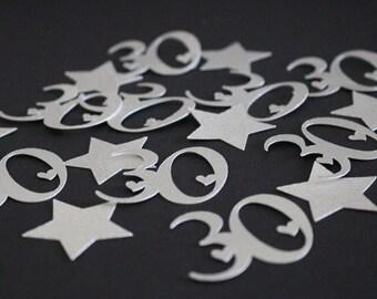 30th Confetti - Silver - Number/Anniversary Confetti - 30th Party Confetti  #2027