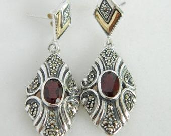 Wonderful Sterling Silver & 18K Gold Dangle Earrings