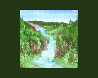 Waterfall - Miniature Oil Painting on Easel