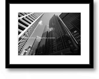 Architecture, Chicago, Glass Building Facade, Black and White Photography, Fine Art, Modern Office Wall Decor, Home  Decor.