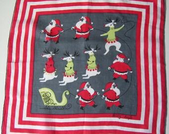 Tammis Keefe Designer Vintage Christmas Santa & Reindeer Hankie