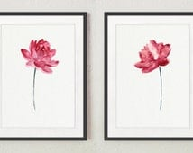 Pink Lotos Flower Set of 2 Art Prints, Abstarct Nature Lotus Flowers Poster, Watercolor Painting Living Room Decor, Floral Wall Illustration