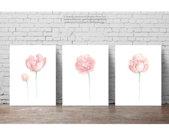 Shabby Chic Decor, Floral Nursery Kids Wall Painting, Peony Watercolour Art Print set 3 Baby Girl Pink Flowers Green Stems, Peonies Image