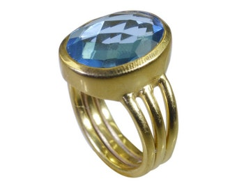 Gold Plated Ring,Blue  Ring,Blue Topaz CZ Blue  Ring,Pendants,gold rings,nature jewelry