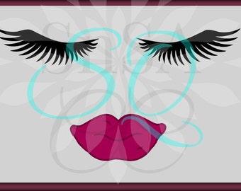 Eyelashes SVG Lips Lashes Face DXF Girl Mom Beautiful Eyes Makeup Fall Mom Shirt Brush Cricut Vinyl Flourish Team Sign EPS 2018 Life Decal.