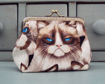 Cat purse, Grumpy cat purse, moody cat purse, cat purse