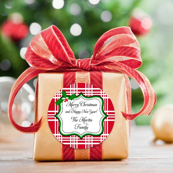 Red Plaid Stickers - Christmas Stickers - Round Labels - Gift Tags - Plaid Gift Tags - Christmas Tags