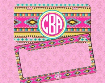 Front License Plate - Monogram Aztec Car Tag - Personalized Car Tag Monogram License Plate