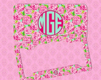 custom license plate monogram lilly pulitzer inspired car tag frame personalized car tag monogram - Monogram License Plate Frame