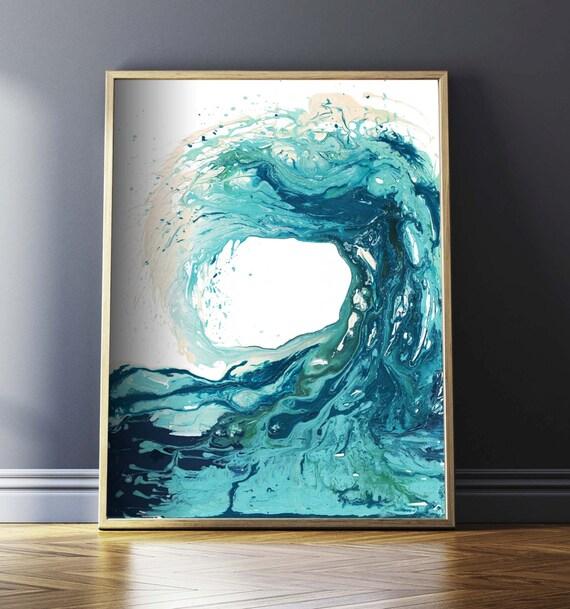 Ocean print abstract art prints surf art ocean art beach for Modern art prints posters