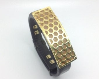 "UP4, UP3 , UP2, UP and UP 24 by Jawbone band slider - ""Honeycomb"" Gold tone and taupe leather"