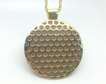 "Fitbit Zip pendant / necklace - Round ""Honeycomb"" Gold tone with taupe leather"