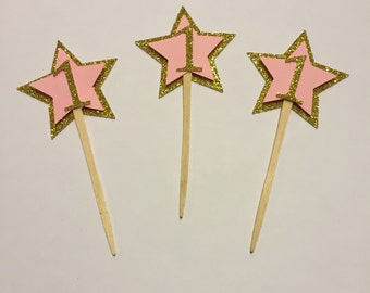 gold star cupcake toppers - twinkle twinkle little star - first birthday - first birthday decoration - twinkle twinkle little star decor