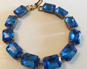 Vintage True Blue Rectangular Rhinestone Bracelet