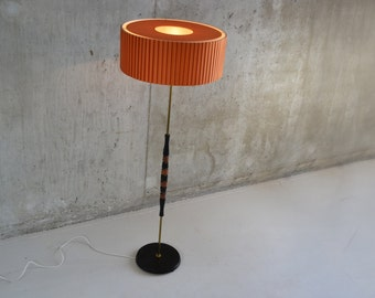 Stunning 1960's Belgian standard lamp with fluted shade