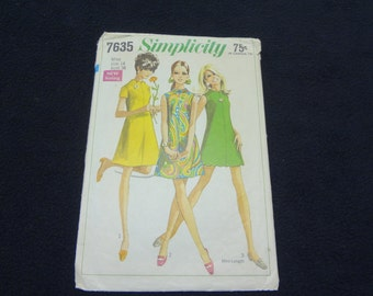 Simplicity 7635 Misses Size 14 Dress Pattern in Two Lengths from 1968