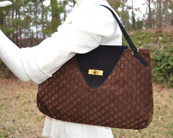 Vintage 1970s Brown and black top handle purse handbag