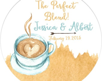 Wedding The Perfect Blend Personalized Labels, Watercolor Label Party Favor, Coffee Thank You Wedding Labels
