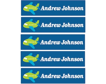 48ct School Name Labels Airplane  - Child Name Labels - Day Care Labels - Weatherproof  Kids Name Labels